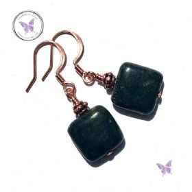 Square Russian Serpentine Copper Earrings